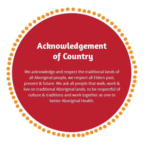 We acknowledge and respect the traditional lands of all Aboriginal people, we respect all Elders past, present & future. We ask all people that walk, work & live on traditional Aboriginal lands, to be respectful of culture & traditions and work together as one to better Aboriginal Health.
